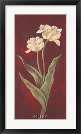 Framed Tulips on Cinnabar I Print