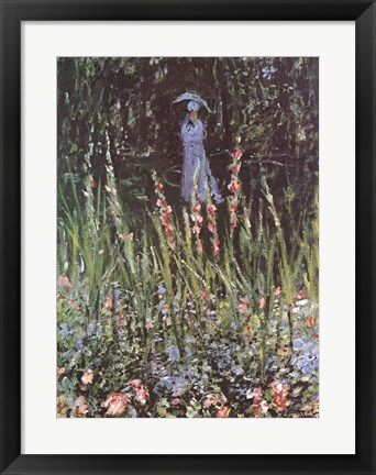 Framed Madame Monet in Her Garden at Giverny Print