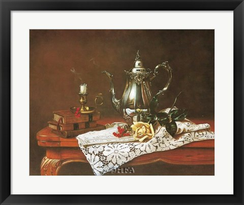 Framed Still Life with Yellow Rose Print