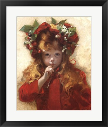 Framed Girl in Red Hat Print