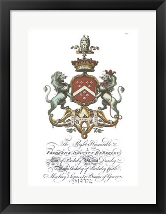 Framed Coat of Arms-Frederick Augustus Berkeley Print