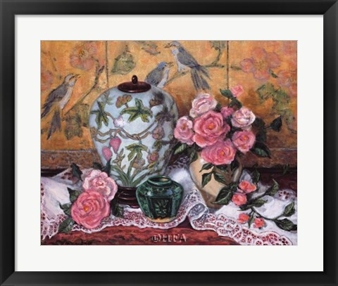 Framed Roses with Green Jar Print