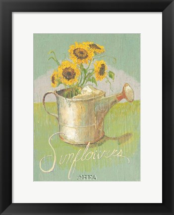 Framed Watering Can with Sunflowers Print