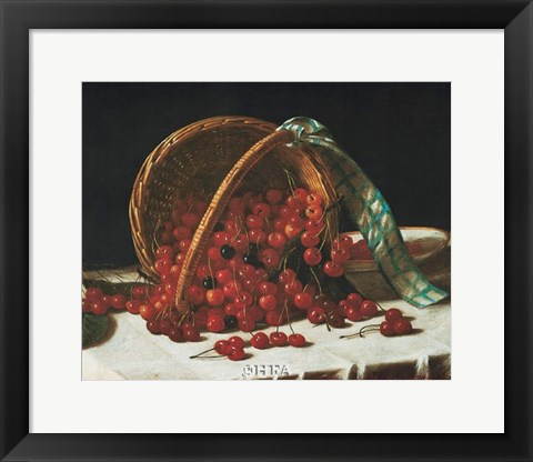 Framed Basket of Cherries Print