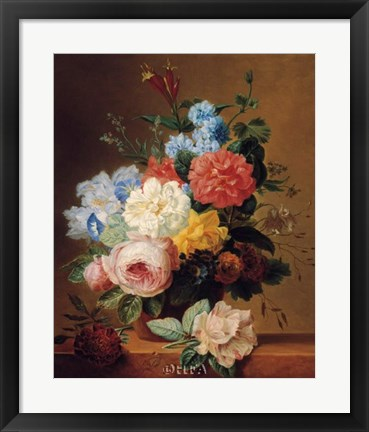 Framed Still Life of Flowers on a Ledge Print