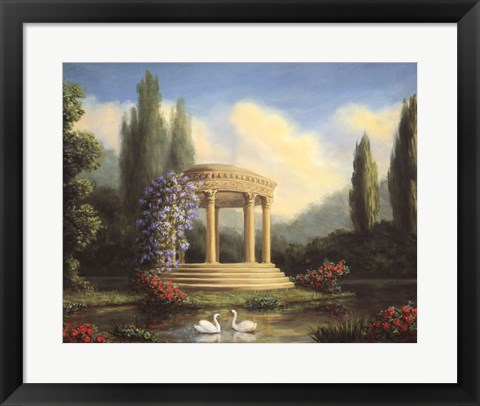Framed Garden with Swans and Gazebo Print