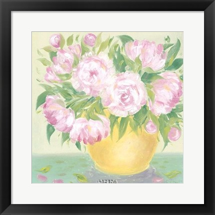Framed Yellow Vase Peonies I Print