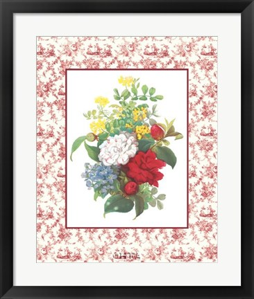 Framed Camellias and Toile Print