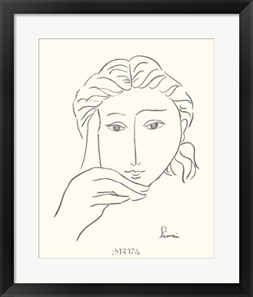 Framed Woman's Face Sketch I Print
