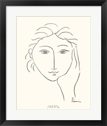 Framed Woman's Face Sketch II Print