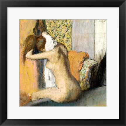 Framed After the Bath, Woman Drying her Neck Print