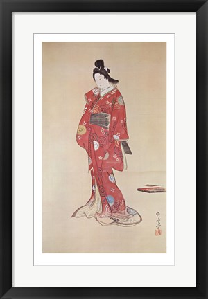 Framed Lady In Red Print