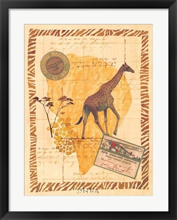 Framed Travel Giraffe Print