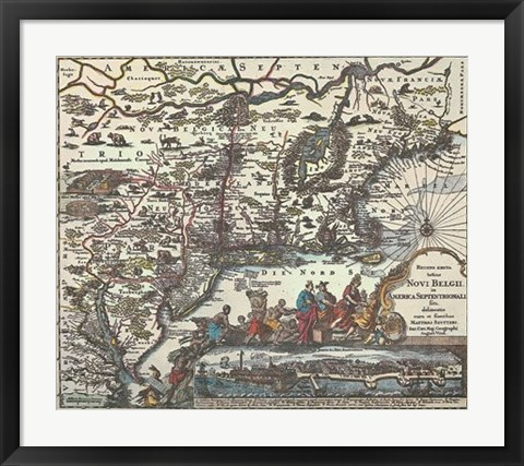 Framed Map of North Eastern America Print