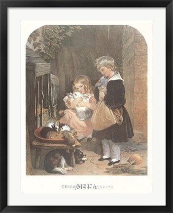 Framed Children and Rabbits Print