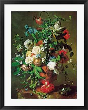 Framed Flowers in an Urn Print