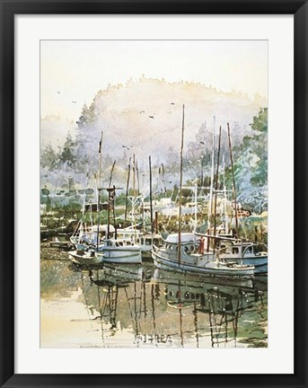 Framed Boats Near Mendocino Print