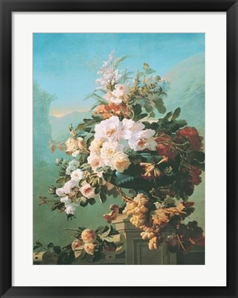 Framed Roses and Other Flowers in an Urn Print