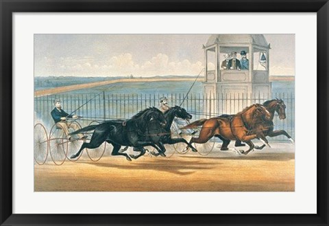 Framed Great Double Team Trot Print