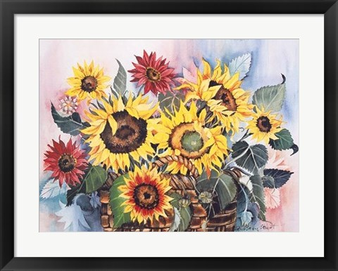 Framed Basket of Sunflowers Print