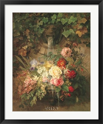 Framed Flowers Under a Lion Fountain Print