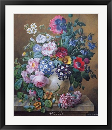 Framed Rich Still Life of Summer Flowers Print