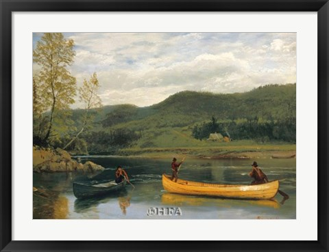 Framed Men in Two Canoes Print