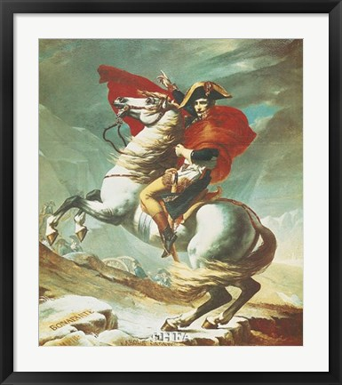 Framed Bonaparte at Mont St. Bernard Print