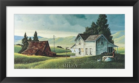 Framed Washday in the Valley Print