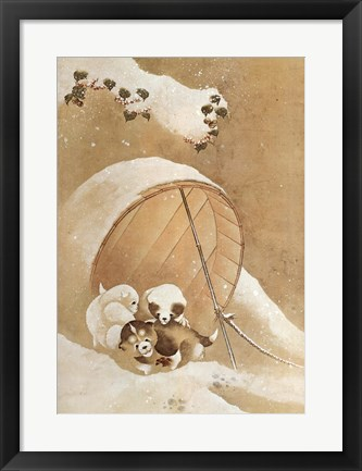 Framed Puppies in the Snow Print