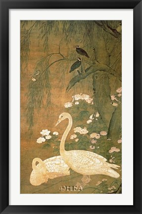Framed Flowers & Birds in an Autumn Setting Print