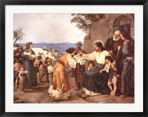 Framed Christ Blessing the Children Print
