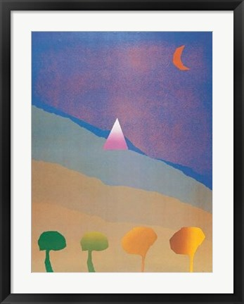 Framed Egypt Blue/One Moon/Four Trees Print