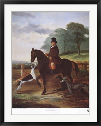 Framed Huntsman with his Greyhounds Print