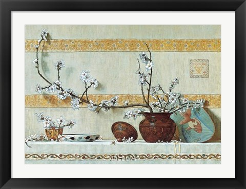 Framed Quince Blossoms Print