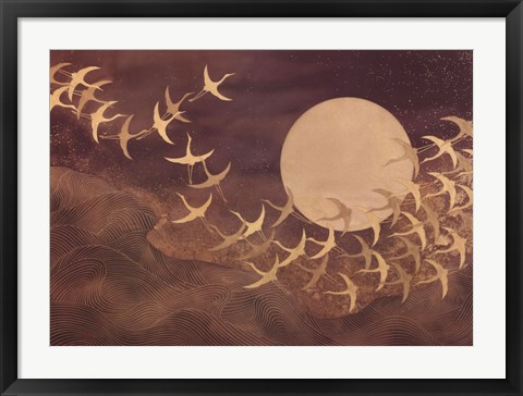 Framed Cranes Over Moon Print