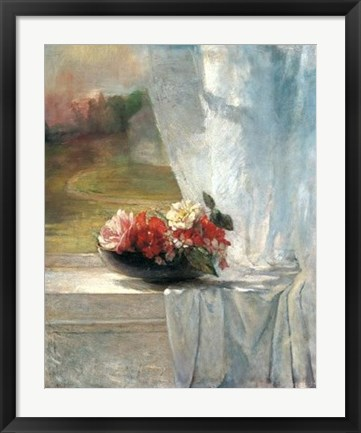 Framed Flowers on a Window Ledge Print