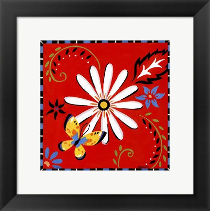 Framed Daisies And Butterflies-Red Print