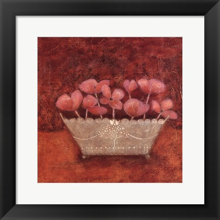 Framed Tuscan Bowl With Flowers II Print
