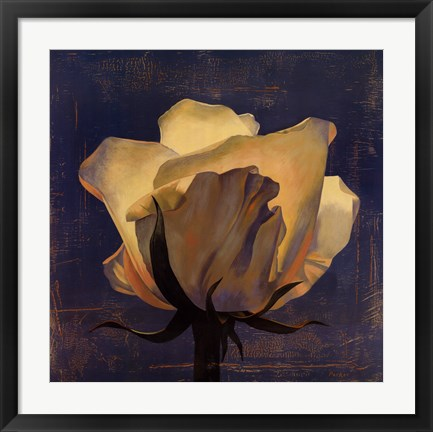Framed Glowing White Rose Print