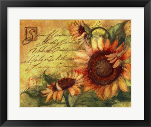 Framed Sunflowers On Gold Print
