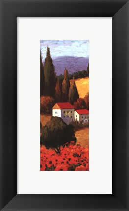 Framed Tuscan Poppies Panel I Print