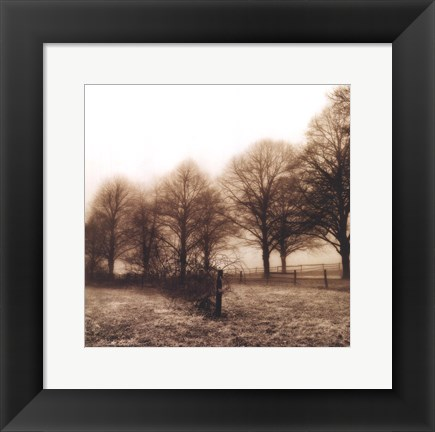 Framed Fence Row and Trees Print