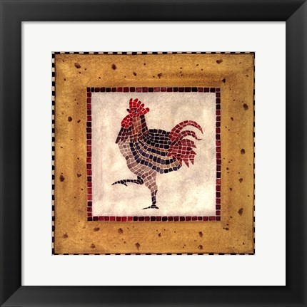 Framed Mosaic Rooster No.1 Print