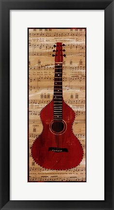 Framed Red Check Guitar Print