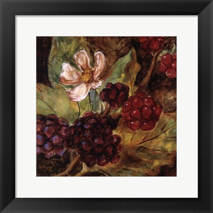 Framed Red Berries And Blossom Print