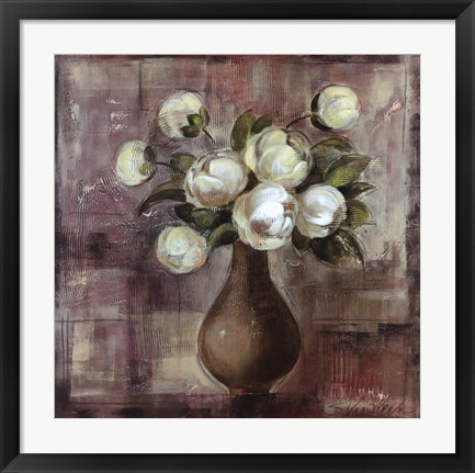 Framed Peonies on White Background Print