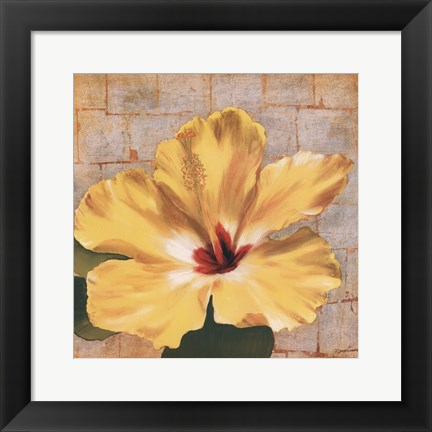Framed Fabric Floral One Print