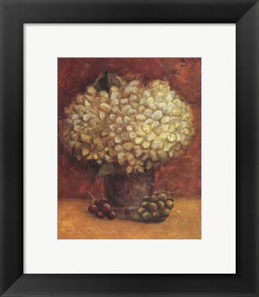 Framed Hydrangeas With Grapes Print