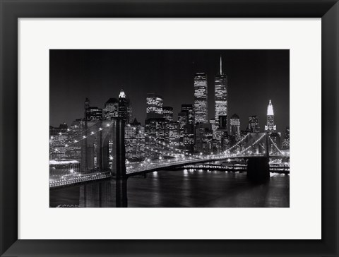 Framed New York, New York, Brooklyn Bridge Print